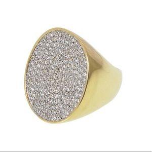 Pavé Cubic Zirconia Round Statement ring,sz 8,NWT